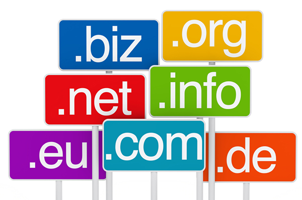 many colorful domain in malaysia signboards on white background